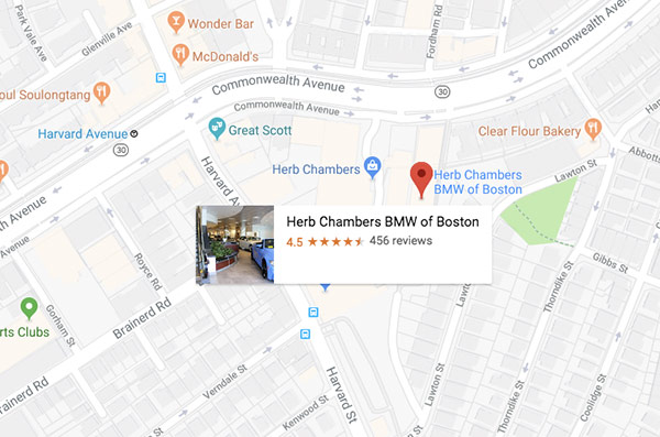 Herb Chambers BMW of Boston map