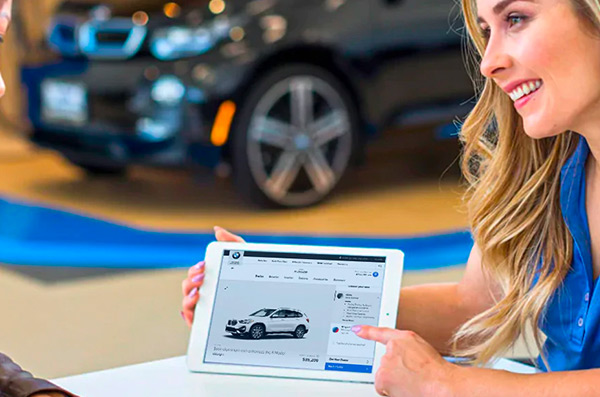 BMW Salesperson on tablet
