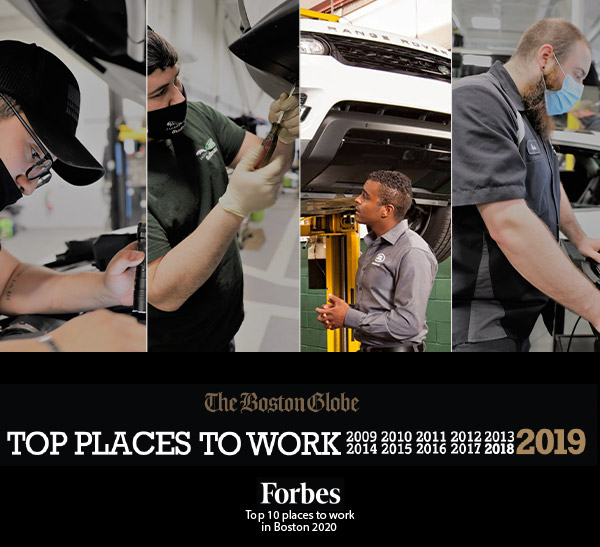 group of workers working on service related jobs with boston gloe top places to work and forbes top places to work