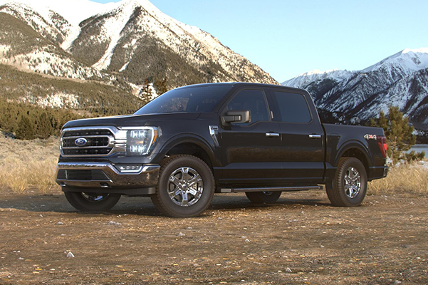 Ford Truck in front of a mountain background