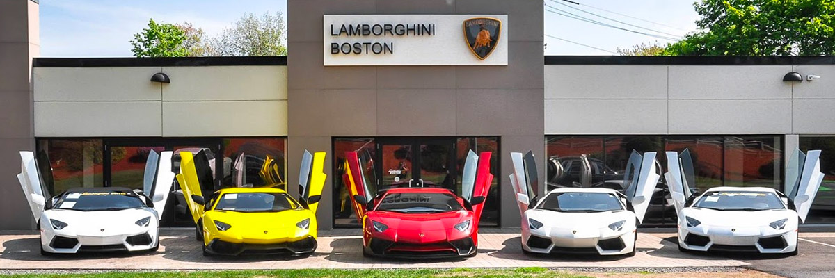 Herb Chambers Lamborghini Boston with Lamborghini vehicle line up
