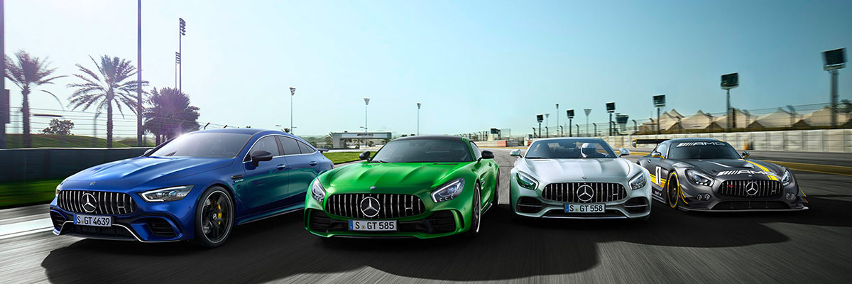Mercedes-AMG® Vehicles line up in racetrack