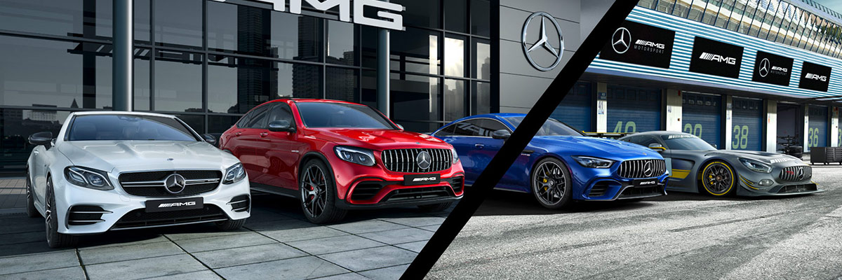 Mercedes-AMG® Vehicles line up outside dealership