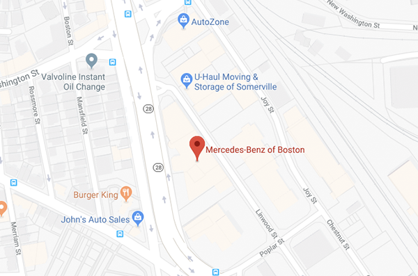 Mercedes-Benz Boston map